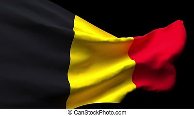 The national flag of Belgium is flying in the wind.