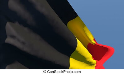 The national flag of Belgium is flying in the wind