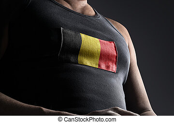 The national flag of Belgium on the athlete's chest