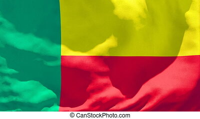 The national flag of Benin is flying in the wind