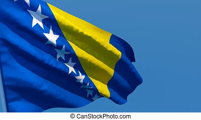 The national flag of Bosnia and Herzegovina is flying in the wind.
