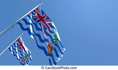 The national flag of British Indian Ocean Territory flutters in the wind against a blue sky
