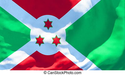 The national flag of Burundi flutters in the wind