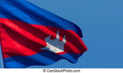 The national flag of Cambodia is flying in the wind
