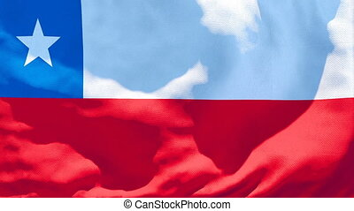 The national flag of Chile is flying in the wind