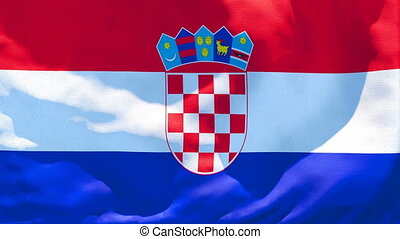 The national flag of Croatia flutters in the wind
