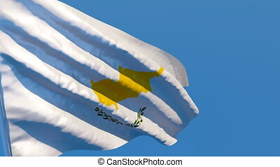 The national flag of Cyprus is flying in the wind