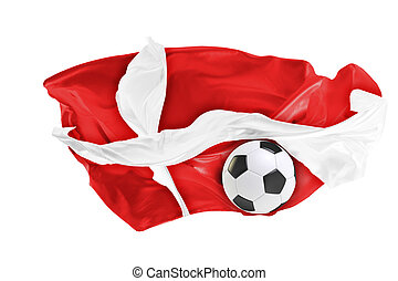 The national flag of Danmark. FIFA World Cup. Russia 2018