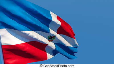 The national flag of Dominican Republic flutters in the wind...