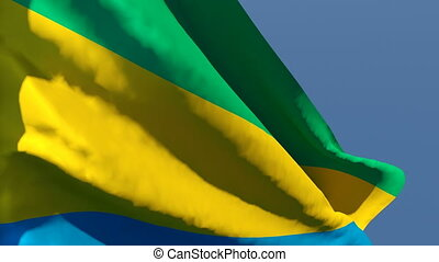 The national flag of Gabon flutters in the wind