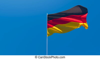 The national flag of Germany is flying in the wind