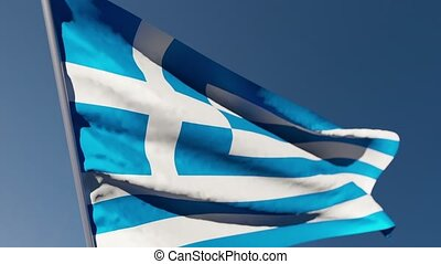 The national flag of Greece flutters in the wind against a blue sky
