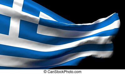 The national flag of Greece flutters in the wind