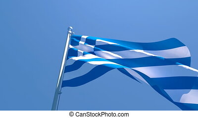 The national flag of Greece is flying in the wind against a blue sky