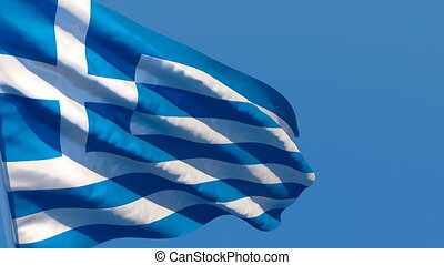 The national flag of Greece is flying in the wind
