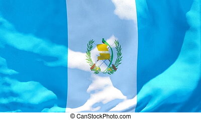 The national flag of Guatemala is flying in the wind.