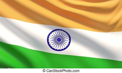 The National Flag of India - Close up of India flag blowing...