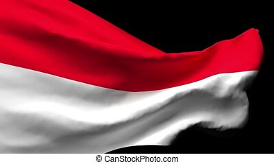 The national flag of Indonesia is flying in the wind