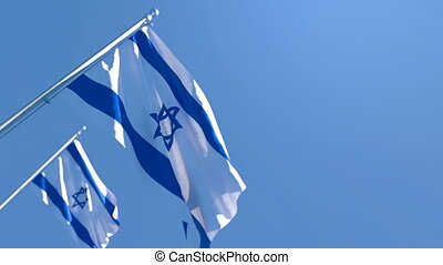 The national flag of Israel flutters in the wind