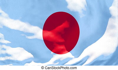The national flag of Japan flutters in the wind