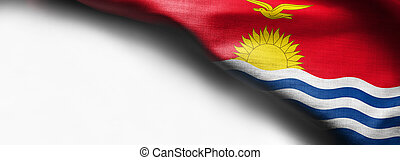 The national flag of Kiribati in the South Pacific on white background - right top corner