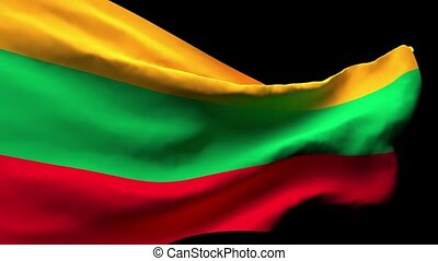 The national flag of Lithuania flutters in the wind