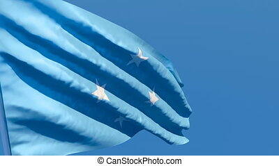 The national flag of Micronesia flutters in the wind against...
