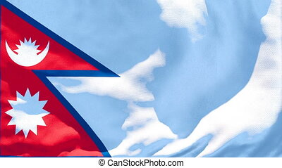 The national flag of Nepal flutters in the wind
