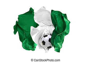 The national flag of Nigeria. FIFA World Cup. Russia 2018