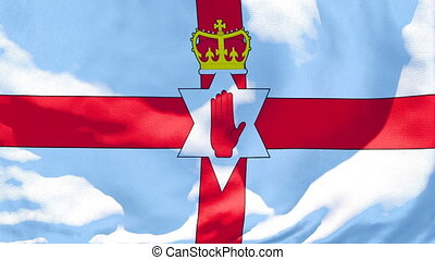 The national flag of Northern Ireland flutters in the wind