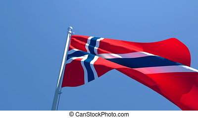The national flag of Norway flutters in the wind