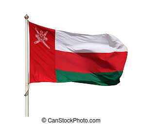 The national flag of Oman isolated over white background