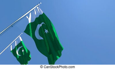 The national flag of Pakistan flutters in the wind