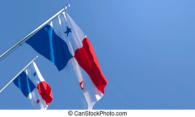 The national flag of Panama flutters in the wind