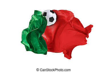 The national flag of Portugal. FIFA World Cup. Russia 2018