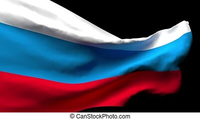 The national flag of Russia flutters in the wind