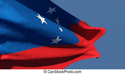 The national flag of Samoa flutters in the wind