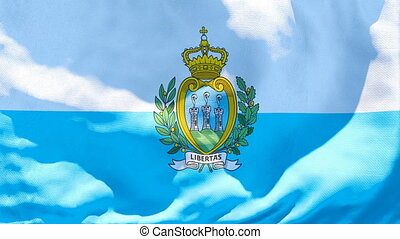 The national flag of San Marino flutters in the wind