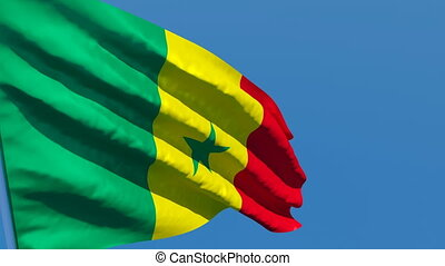 The national flag of Senegal flutters in the wind against a ...