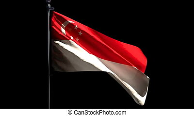 The national flag of Singapore flutters in the wind against a black background.