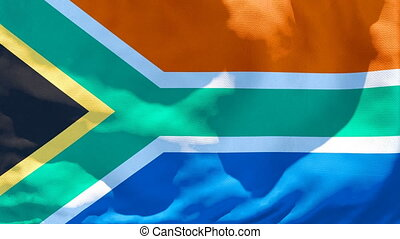 The national flag of South Africa flutters in the wind