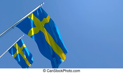 The national flag of Sweden flutters in the wind