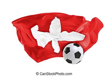 The national flag of Switzerland. FIFA World Cup. Russia 2018
