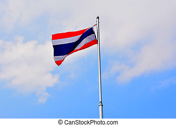 The National Flag of Thailand on blue sky background