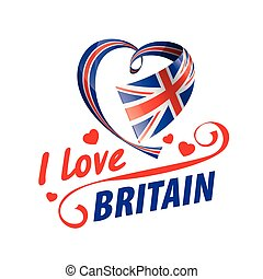 The national flag of the Britain and the inscription I love Britain. Vector illustration