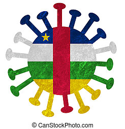 The national flag of the Central African Republic with corona virus or bacteria