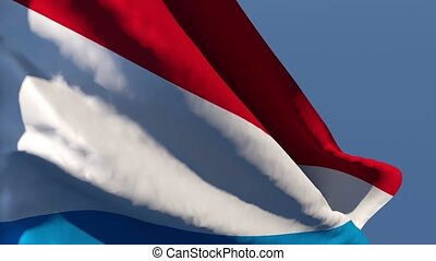 The national flag of the Netherlands is flying in the wind