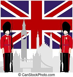 Royal Guard - The national flag of the United Kingdom, and...