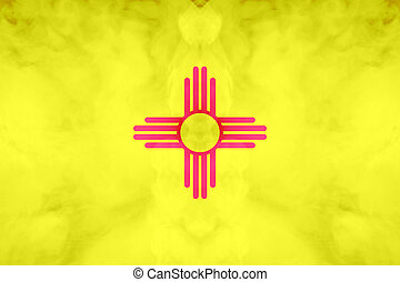 The national flag of the US state New Mexico in against a gray smoke on the day of independence in different colors of blue red and yellow. Political and religious disputes, customs and delivery.