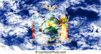 The national flag of the US state New York in against a gray smoke on the day of independence in different colors of blue red and yellow. Political and religious disputes, customs and delivery.